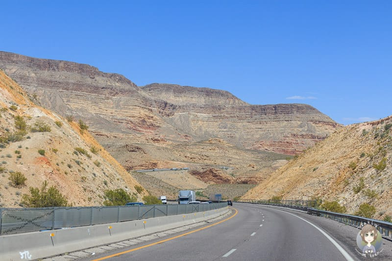 Fahrt über die I 15 Richtung Utah