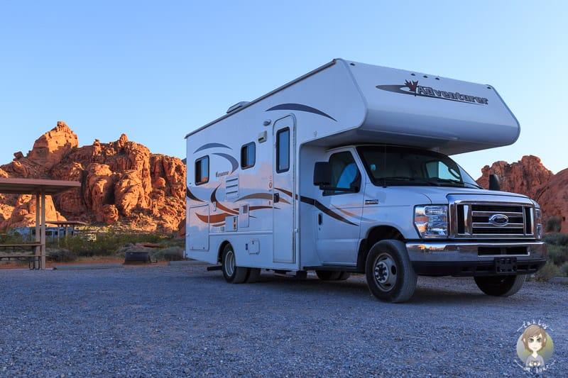 Der Atlatl Rock Campingplatz am Abend