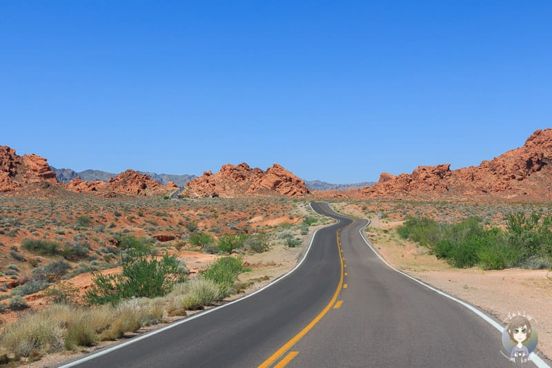 Fahrt Richtung East Entrace vom Valley of Fire State Park