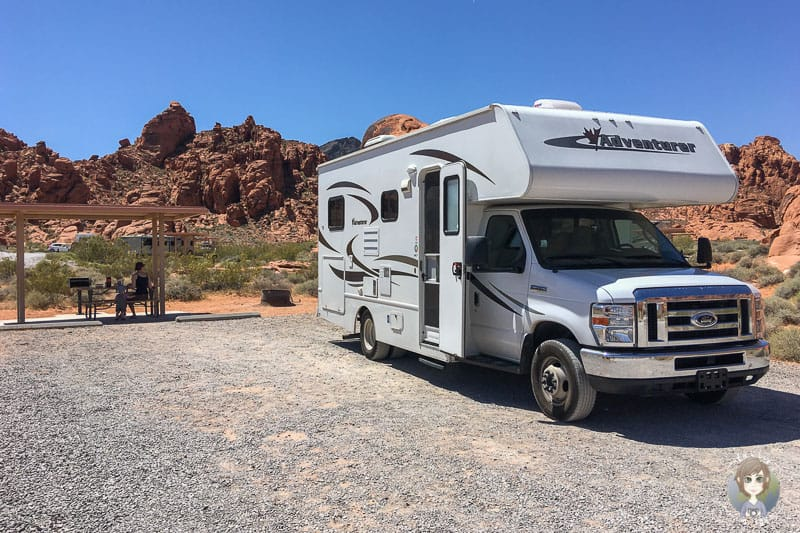 Unser Stellplatz auf dem Atlatl Rock Campground im Valley of Fire State Park