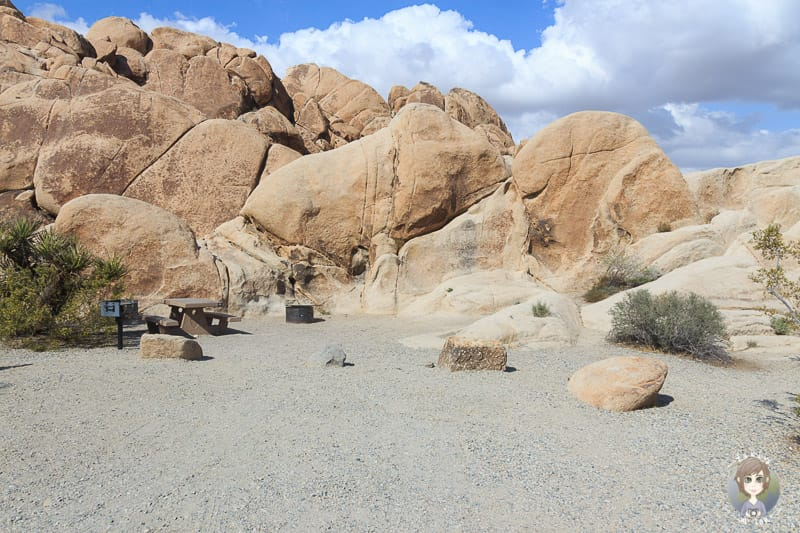 Stellplatz auf dem Indian Cove Campground im Joshua Tree Nationalpark