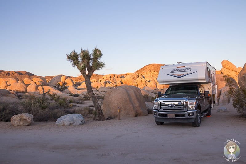 Wohnmobil mieten in den USA und Fahrt auf einen Campingplatz