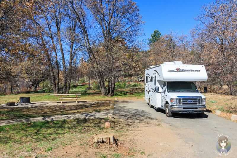 Unser Stellplatz auf dem Burnt Rancheria Campground