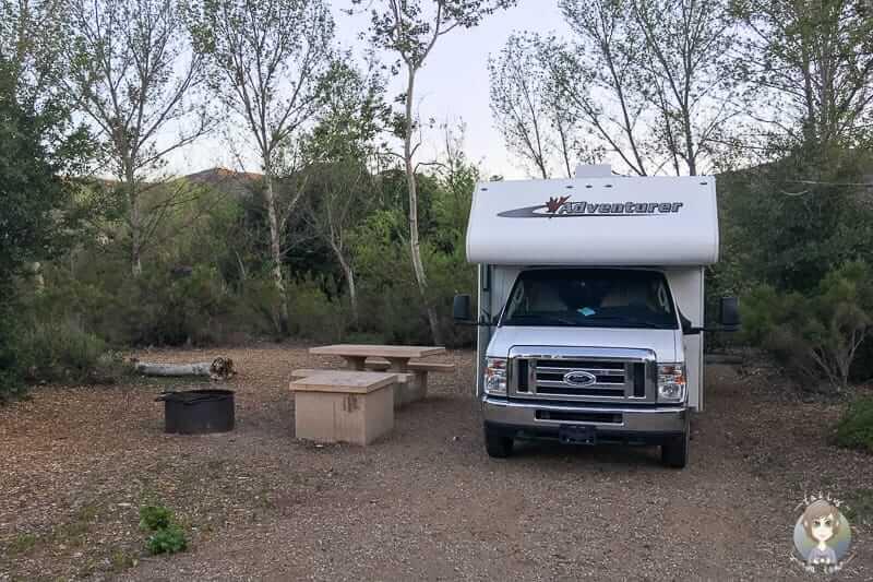 Stellplatz auf dem Kumeyaay Lake Campground in San Diego