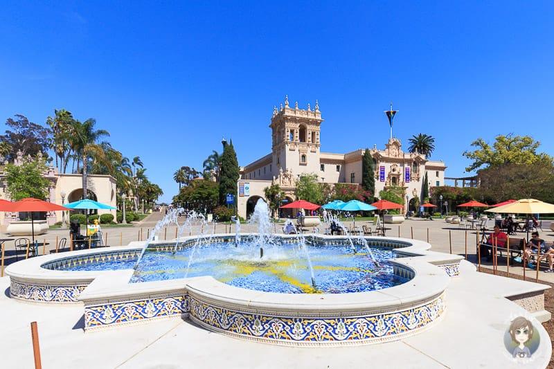 Der Springbrunnen auf dem Plaza Panama im Balboa Park