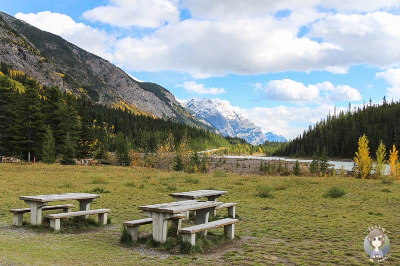 Ein Picknickplatz am Icefields Parkway in Kanada