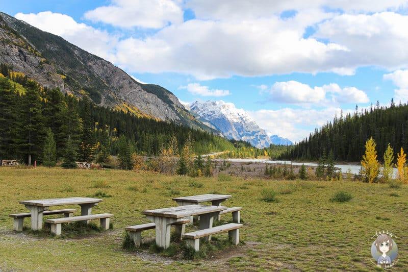 Ein Picknickplatz am Icefields Parkway in Kanada