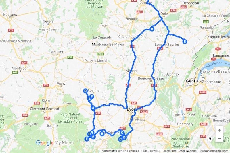 Unsere Route durch das Département Loire in Frankreich (c) Google Maps