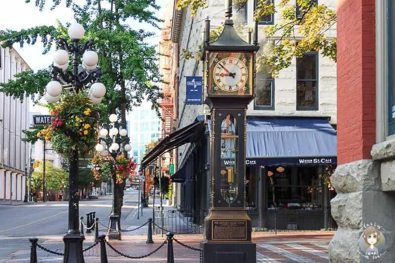 Blick auf die Vancouver Sehenswürdigkeit Steam Clock