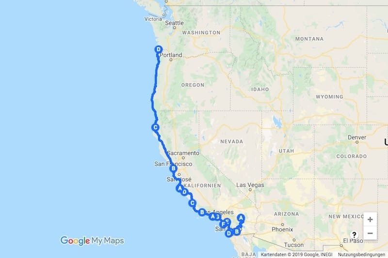 USA Westküste mit Wohnmobil Route