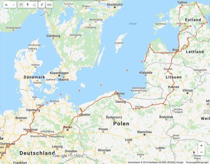 Unsere Route der Baltikum Rundreise Karte (c) Google