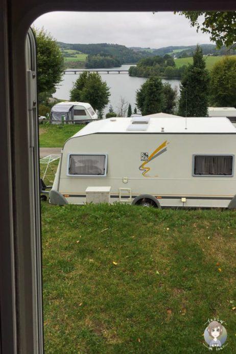 Aussicht vom Campingplatz Kalberschnacke im Sauerland