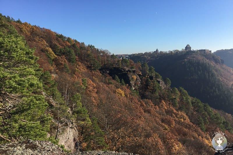 Blick auf Buntsandsteine und Burg Nideggen beim Wandern