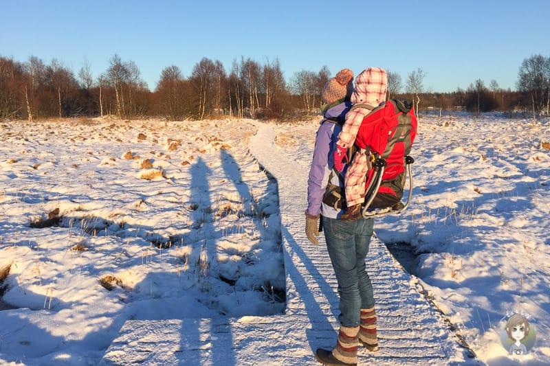Wanderung im Schnee am Mont Rigi