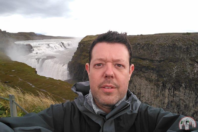 Selfie am Gullfoss Wasserfall am Golden Circle Island