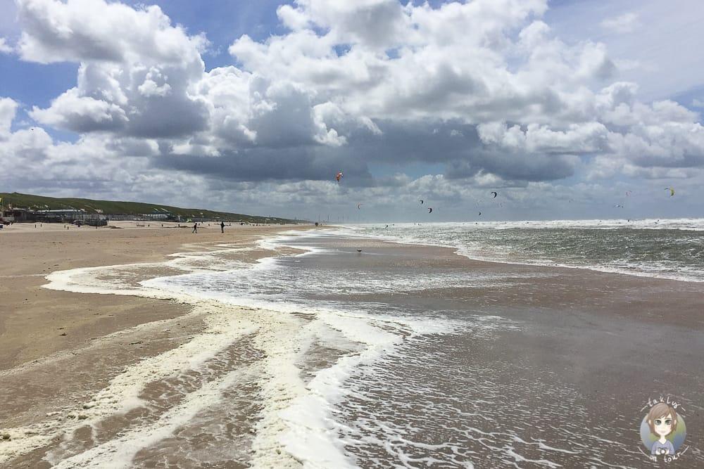 Der schöne Strand in Castricum aan Zee beim Urlaub in Nordholland